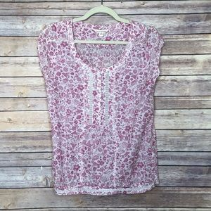 AEO Floral short sleeved blouse pink/white S/P